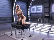 Девушка кончает сидя на вибраторе