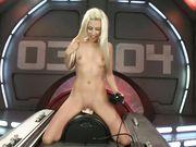 Худенькая блондинка управляет секс машиной и бурно кончает