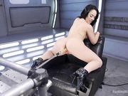 Механическая секс машина доводит женщину до оргазма