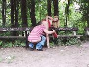 Секс с русской девицей в парке