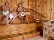 Двое развратных парней соблазнили грудастую красотку на секс в бане