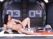 Lea Lexis раздвигает ноги перед секс машиной