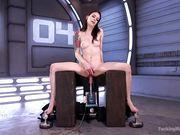 Anna de Ville удовлетворяет лохматую киску машиной для оргазма