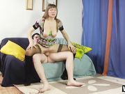 Тетка трясет растянутыми сиськами во время секса с русским парнем